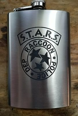 stars raccoon police dep 8oz flask