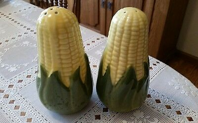 "Vintage Shawnee ""Corn King"" Large Salt & Pepper Set - 4 1/2"" Tall-Clear Stoppers"