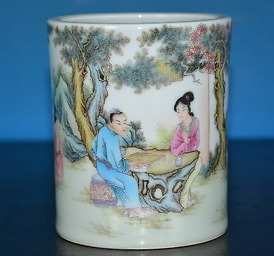 Fine Antique Chinese Famille Rose Porcelain Brush Pot Marked Qianlong Rare I1973
