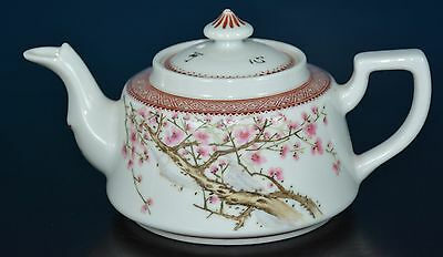 Fancy Antique Chinese Famille Rose Porcelain Teapot Marked Tian Cuixian V8912