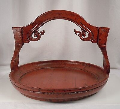 Chinese Red Lacquer Wood Wedding Basket