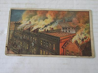 1880's Fire Fighting Victorian Trade Card, T.C. Snyder Roofing , Canton, Ohio