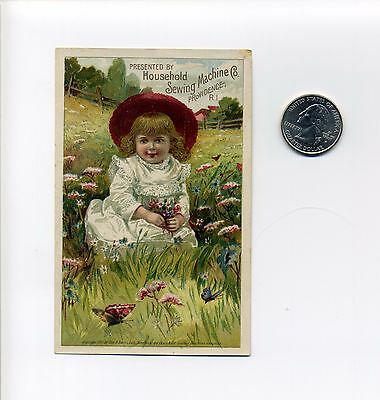 Providence RI Trade Card, Household Sewing Machine Co, girl, flower, butterfly