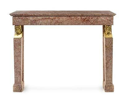 SOLID MARBLE FIREPLACE MANTEL - Antique GORGEOUS! with Gold Gilt