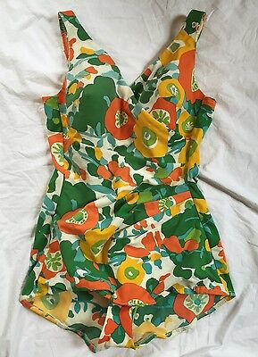 Vintage 50s 60s One Piece Swimsuit Floral Retro Pin Up ~ Fit Today's 10 to 12