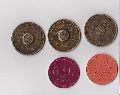 Five Alcoholics Anonymous  Recovery Coins  Medal Token