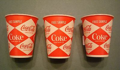 3 Ct 4 Oz Coca Cola Coke Free Sample Wax Paper Cups 60S Diamond Logo Vintage