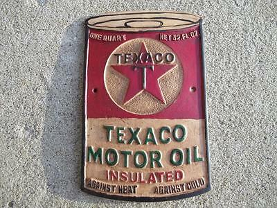 Aluminum Texaco Motor Oil Insulated Can Sign Plaque Gas Station Sign One Quart