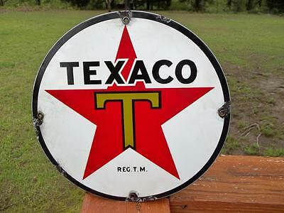 Porcelain Texaco Gasoline & Oil Sign Gas Station Pump Plate Reg T.m.
