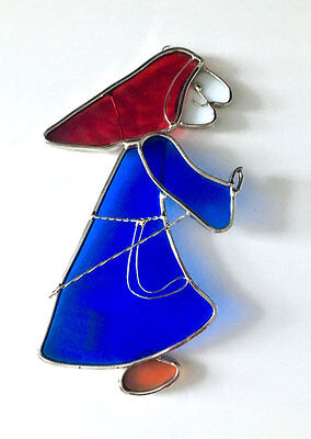 *** BRAND NEW STAINED GLASS BLUE WITCHl WINDOW HANGING ***
