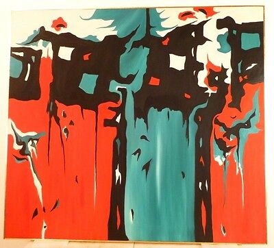 Vintage ABSTRACT EXPRESSIONIST OIL PAINTING Mid Century Modern Large - 1973