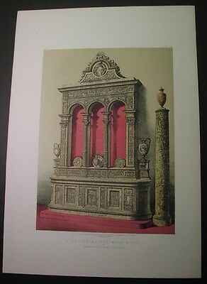 1863 color litho, carved walnut sideboard, Barbetta Florence Italy; woodcarving