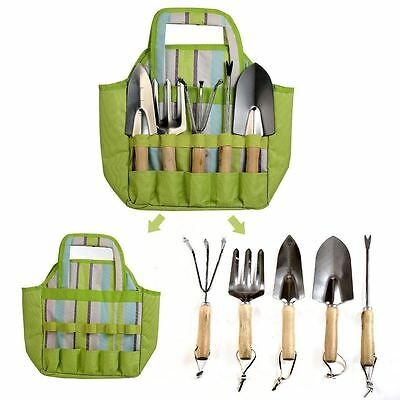 Gardening Work Heavy Duty Hand Power Tools Kit Set with Tote Bag Green 7-Piece