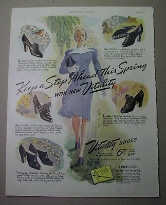 12 ads - VITALITY SHOES for WOMEN, 1940s; McCullough artist; International Shoe