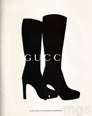 Gucci high-heel boots print ad Dec 1996 white background