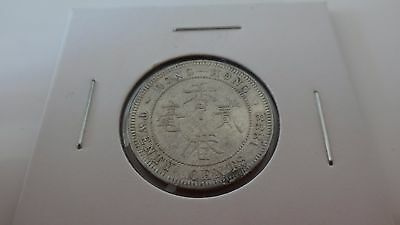 1888 HONG KONG 20C VICTORIA gVF with UNDERLYING LUSTRE Frosty Toning SILVER COIN