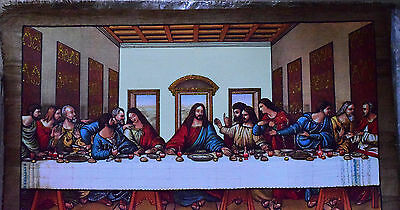 "Egyptian Coptic,Christian,Papyrus Paint Glow in the dark (24""x48"") Last supper"