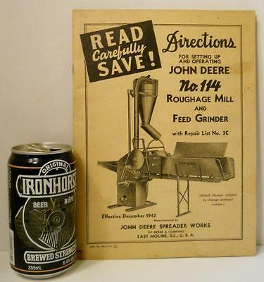 1943 John Deere No 114 Roughage Mill & Feed Grinder Set Up and Oper Directions