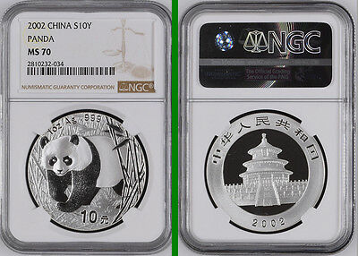 China Ms70 2002 Silver Panda Perfect Coin Ngc 1 Oz Silver 10 Yuan Chinese Panda