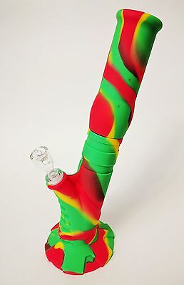 """Silicone Bong, 2 Piece, 14"""" Height Unbreakable Water Pipe w/ Ice Catcher"""