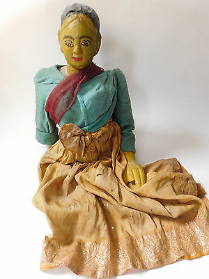 19th Century ORIG Antique Hindu Jointed Wooden Puppet from Indian