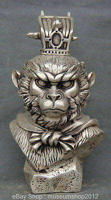"10"" Chinese Myth Silver Monkey Kings Sun Wu Kong Goku Head Bust Statue Sculpture"