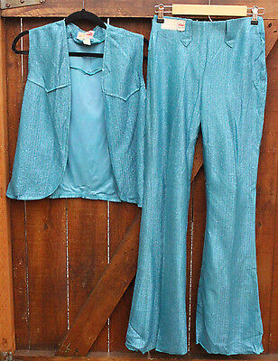 RARE 1950s Levis Western Wear 2pc Turq Blue Metallic Vest and Pant Bells DEADSTK