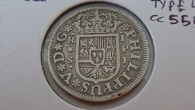 1738 SPAIN 1 REALE aVF SILVER COIN LOW MINTAGE WOW