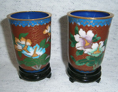 Vintage Asian Cloisonne Handwork Enamel 2 Vine Water Cups with Stands
