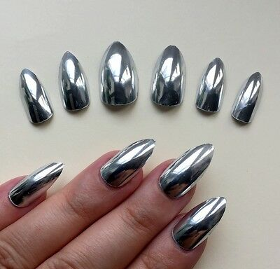 Hand Painted False Nails Stiletto or (ALL SHAPES) Amazing MIRROR CHROME silver