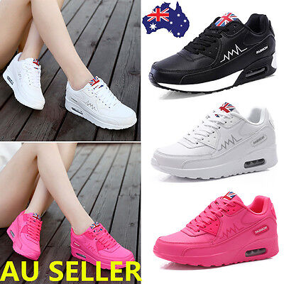 Women Mesh Suede Running Shoes Air Cushion Sneakers Lace-Up Sport Shoes AU 2.5-6
