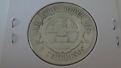1895 South Africa Kruger Vf Two Shillings / Florin Silver Coin Carded