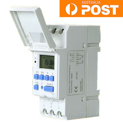 DIN Rail Digital LCD Power Programmable Timer Time Switch Relay AC 220-240V 16A