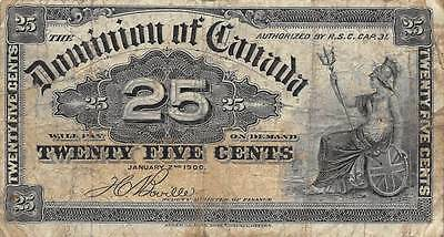Dominion of Canada  25 Cents  1.2.1900  Circulated Banknote NSA13
