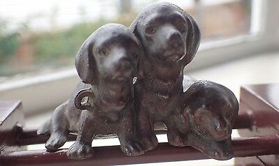 Vintage Brass Hollow Dogs statue figurine aged Ornament