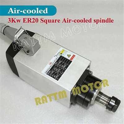3KW Square Air Cooled Spindle Motor ER20 18000rpm 220V for CNC Router Machine