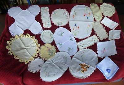 19 Vintage Embroidered Crocheted Doilies, Duchess Sets Craft/patchwork/quilting