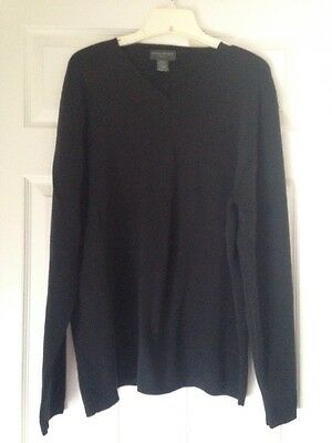 Banana Republic Mens Black Stretch V-Neck Pullover Sweater Size XL