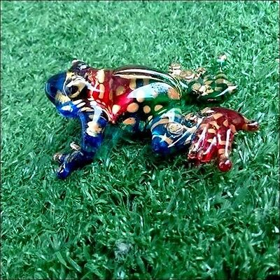 Frog Hand Blown Glass Art Trim Paint Miniature Figurine Animal Collection Gift