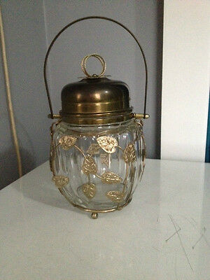 Collectable Antique Vintage Glass Metal Musical Cookie Jar