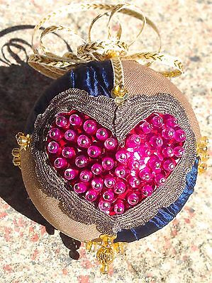 Handmade Sequins Beaded Christmas / Valentines Day Heart Ornament