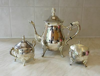 Vintage Silver Plated Coffee Set - Coffee Pot, Jug & Lidded Basin with patina