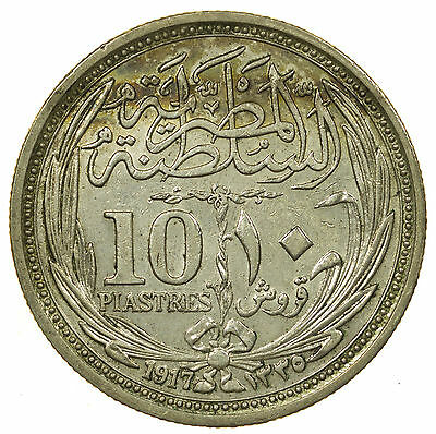 Egypt, 10 Piastres, Middle East, Silver, Ah1335, 1917