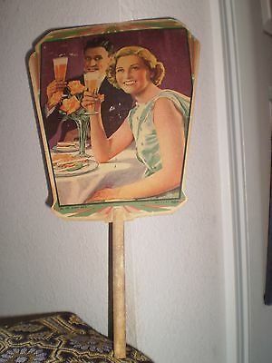 """VINTAGE CHURCH OR FUNERAL HOME CARDBOARD, HANDHELD FAN """"HAPPY DAY'S"""" #723; 8x14"""""""