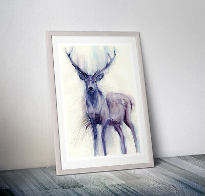 WILL ELLISTON Fine Art Print of my Standing Stag Watercolour Painting Signed