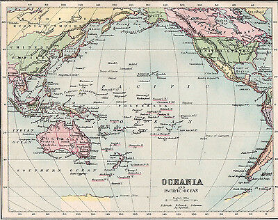 Map of Oceania and Pacific Ocean 1893  Original Antique