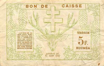 New Caledonia  5 Francs 15.6.1943  circulated Banknote