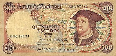 Portugal  500 Escudos  6.9.1979  Series KHQ Circulated Banknote EF11