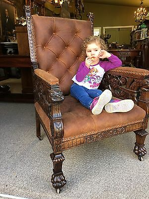 Carved Griffin Pierced Carved Oak Arm Chair RJ Horner New Leather Mint