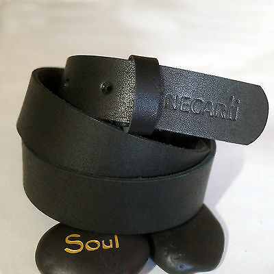 Mens Leather Belt Genuine Full Grain Leather Belts Black – Without Buckles